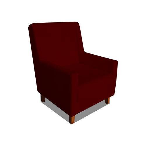 Poltrona Cadeira Mari Sala Quarto Recepção Escritório Consultório Suede Bordô - AM DECOR