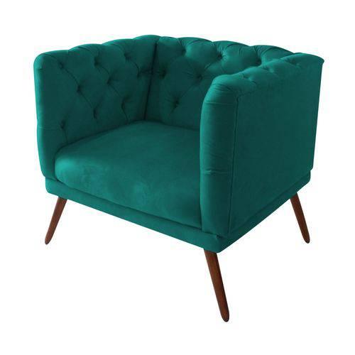 Poltrona Cadeira Maria Sala Quarto Recepção Escritório Consultório Suede Azul Turquesa - AM DECOR