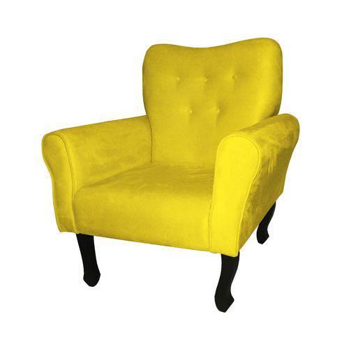 Poltrona Cadeira Nanda para Escritório e Sala Recepção Suede Amarelo