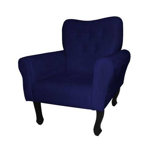 Poltrona Cadeira Nanda para Escritório e Sala Recepção Corino Azul Marinho
