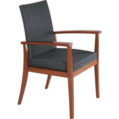 Poltrona de Madeira Jatoba com Assento e Encosto em Fibra Preta Terrazzo Fibra Natural