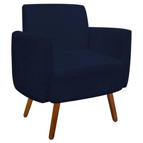 Poltrona Decorativa Agatha Suede Azul Marinho - D'Rossi