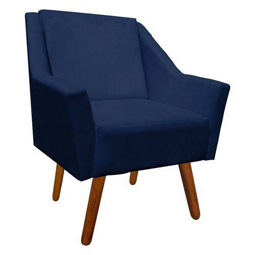 Poltrona Decorativa Ana Suede Azul Marinho - D'Rossi