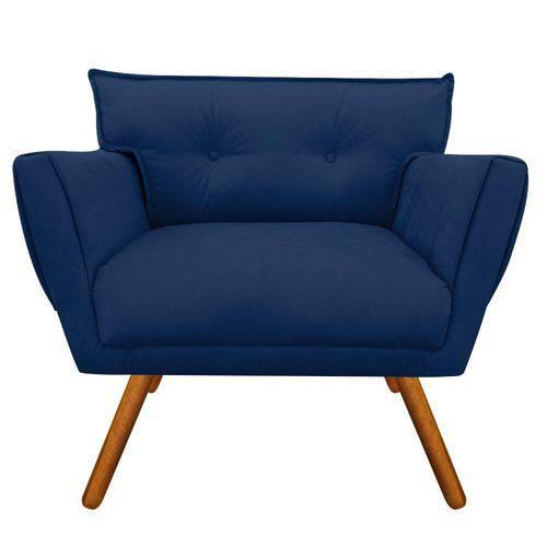 Poltrona Decorativa Anitta Suede Azul Marinho - D'Rossi