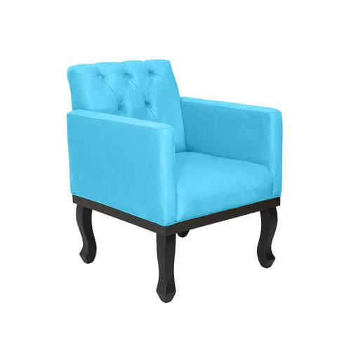 Poltrona Decorativa Capitonê Classic Suede Azul