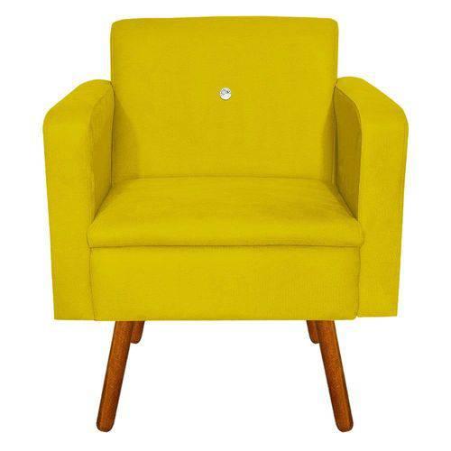 Poltrona Decorativa Emília Suede Amarelo com Strass - D'Rossi
