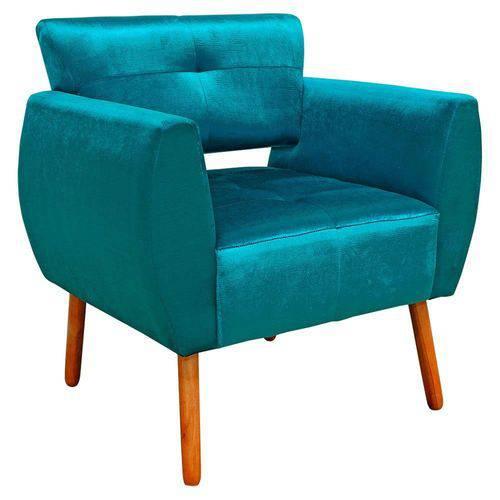 Poltrona Decorativa Josy Suede Acetinado Azul - D'Rossi