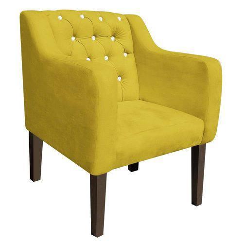 Poltrona Decorativa Lisa Suede Amarelo com Strass - D'Rossi