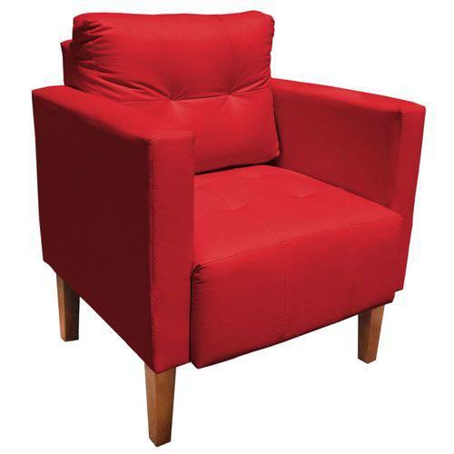 Poltrona Decorativa Lívia para Sala e Recepção Corino Vermelho - D'Rossi