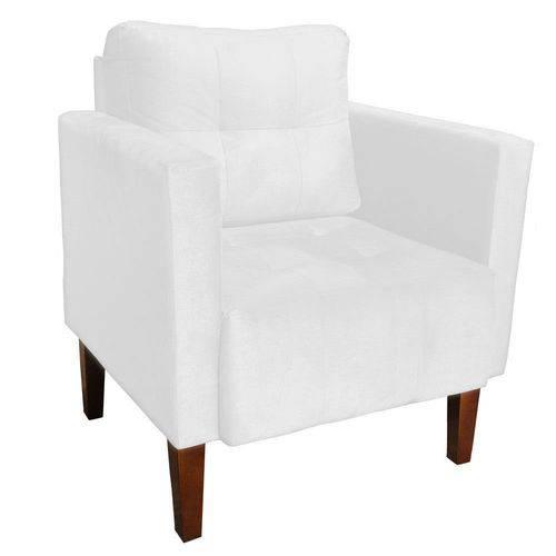 Poltrona Decorativa Lívia para Sala e Recepção Suede Branco - D'Rossi