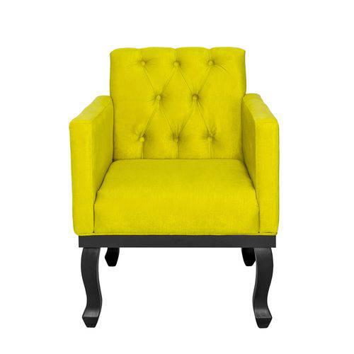 Poltrona Decorativa para Sala e Escritório Capitonê Classic Suede Amarelo