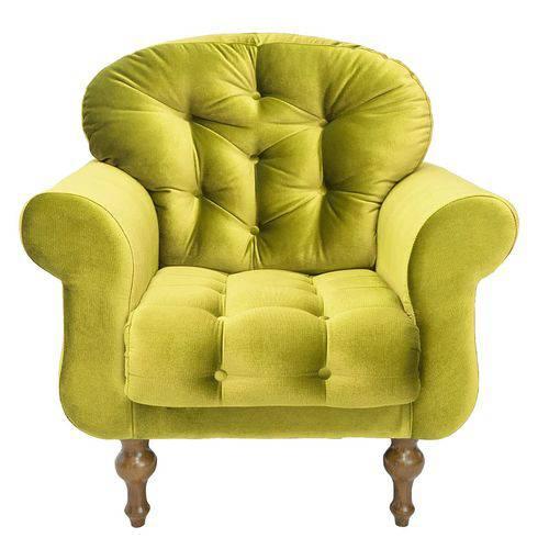 Poltrona Decorativa para Sala e Escritório Dani Suede Amarelo