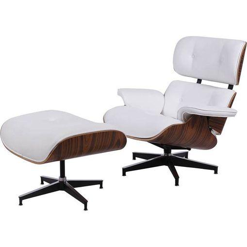Poltrona Eames Clusia Branca em Couro com Puff OR Design 1208