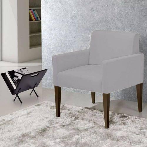 Poltrona Cadeira Decorativa Lais Sala Escritório Suede Cinza