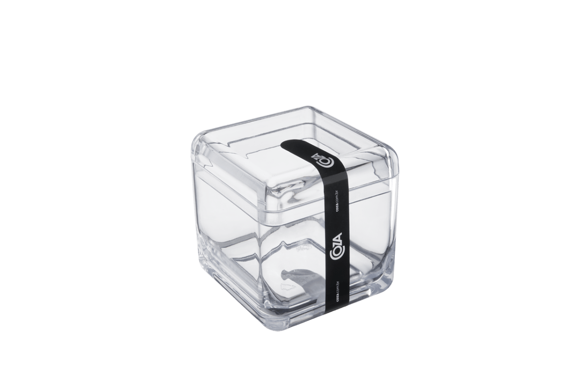 Porta-algodão/cotonete Cube - CR 8,5 X 8,5 X 8,5 Cm Cristal Coza