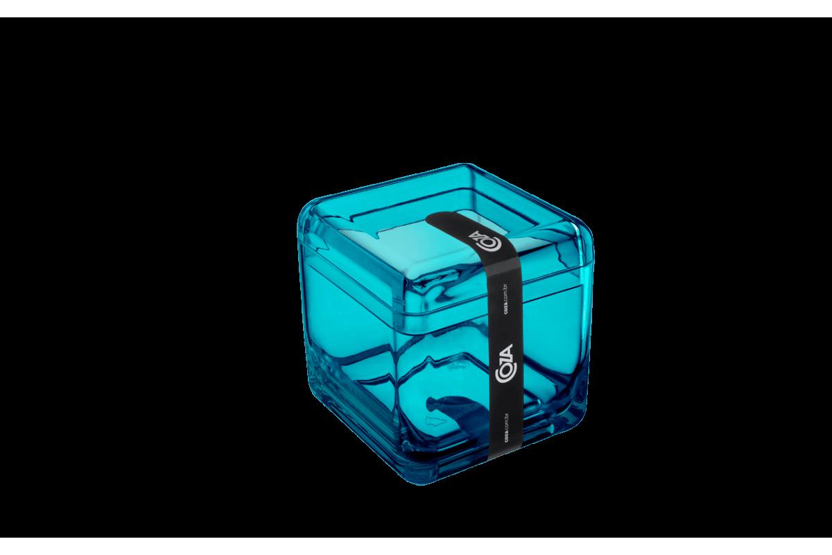 Porta Algodão/Cotonetes - Cube 8,5 X 8,5 X 8,5 Cm Verde Coza