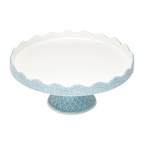 Porta Bolo Cerâmica Azul 30x30x12cm - Occa Moderna