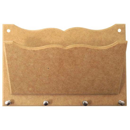 Porta Cartas e Chaves Trabalhado com 4 Pinos - MDF