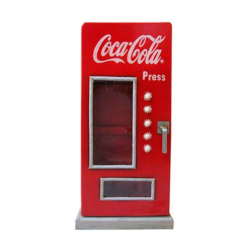 Porta-Chaves Coca-Cola Madeira Fridge Réplica com Vidro - Urban