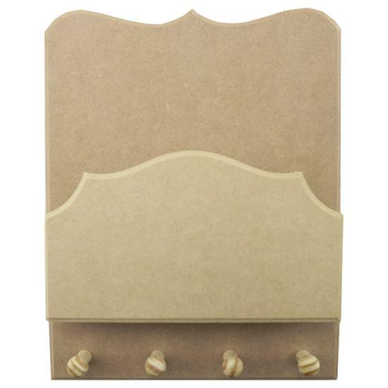 Porta Chaves e Cartas em MDF 28x22cm Trabalhado 4 Pitões - Palácio da Arte