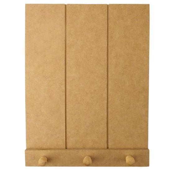 Porta Chaves em MDF 25x19,5cm Placa Riscada Pallet e 3 Pitão - Palácio da Arte