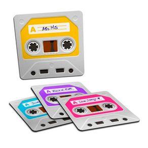 Porta Copos Fita Cassete K7 Retro - 4 Peças