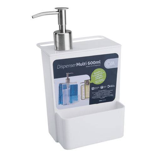 Porta Detergente e Esponja 600Ml Branco - Coza