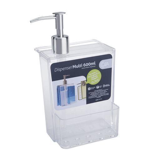Porta Detergente e Esponja 600Ml Transparente - Coza