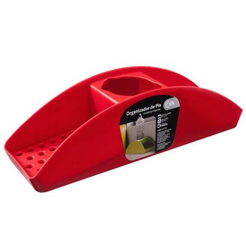Porta Detergente e Esponja Vermelho - Coza