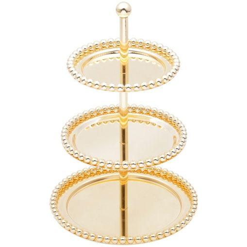 Porta Doces com 3 Andares de Zamac Dourado Balls 3818 Lyor