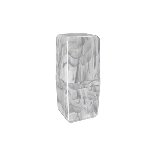 Porta-escova com Tampa Cube - MBC 8,5 X 8,5 X 19,5 Cm Mármore Branco Coza