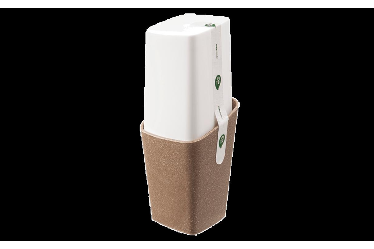 Porta-Escova com Tampa - Square 8,2 X 8,2 X 20,8 Cm Bios com Branco Coza