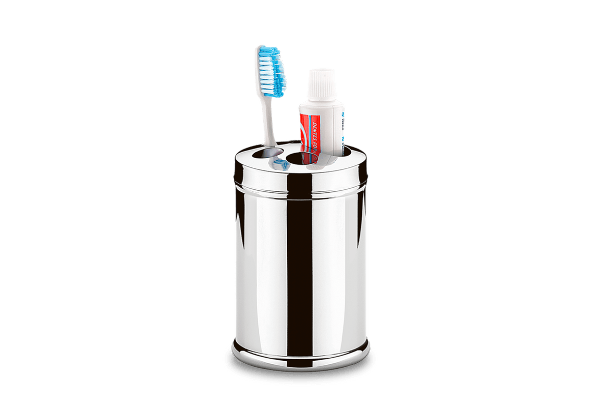 Porta Escova/Creme Dental Inox Ø 8,5 X 12,8 Cm
