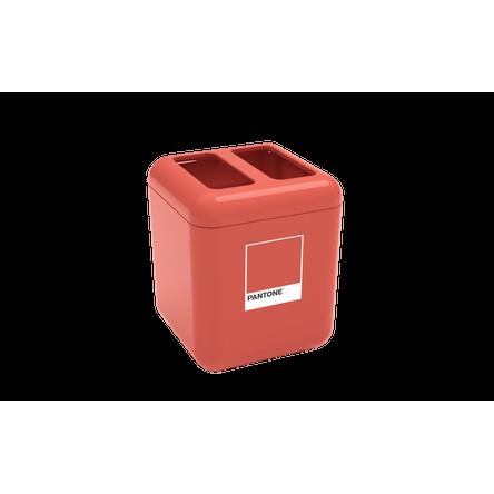 Porta Escova - Cube 8,5 X 8,5 X 10,5 Cm Coral Pantone Coza