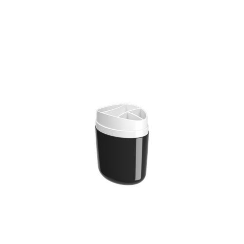 Porta-escova Full - PT 10,6 X 7,7 X 15,4 Cm Preto Coza