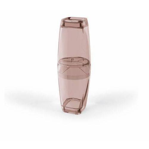 Porta Escova Premium Translucido Rosa