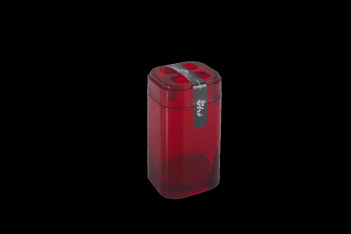 Porta-Escova - Splash 6,5 X 6,5 X 12,7 Cm Vermelho Transparente Coza
