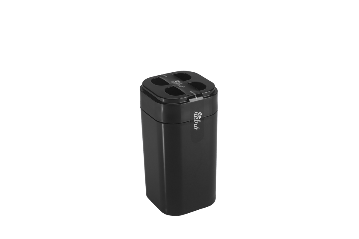 Porta-escova Splash - PT 6,5 X 6,5 X 12,7 Cm Preto Coza