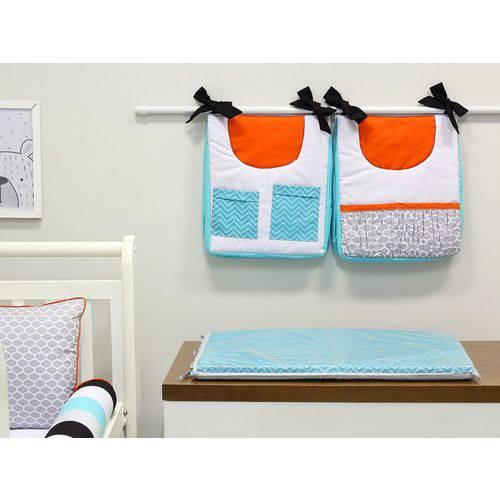 Porta Fraldas para Bebê 2 Peças Chevron Tiffany e Laranja