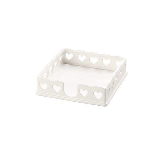 Porta Guardanapos Branco Heart 17,5x4cm
