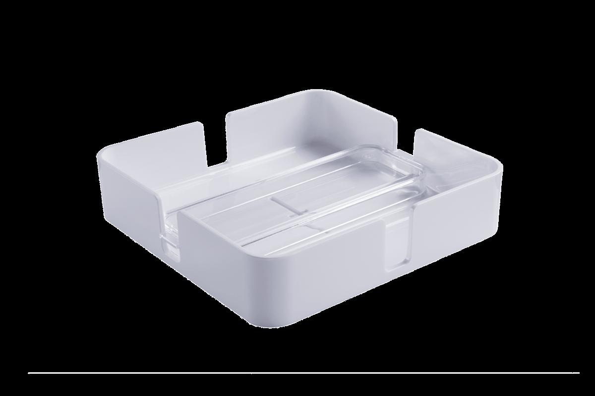 Porta Guardanapos - MOD 18,9 X 18,9 X 4,7 Cm Cristal com Branco Coza