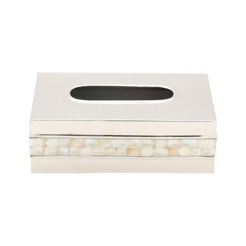 Porta Lenço de Papel em Aço Inox com Madre-Pérola 23 X 24 X 23,5cm