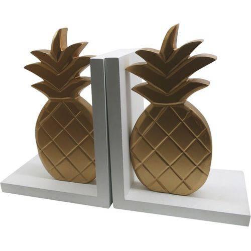 Porta Livros Branco e Dourado em Madeira Pineapples Urban