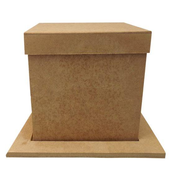 Porta Panetone em MDF Quadrado com Base e Tampa Lisa 16x16x16cm Natal - Palácio da Arte