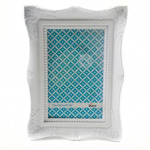 Porta Retrato 10x15cm Plastico Vintage Branco