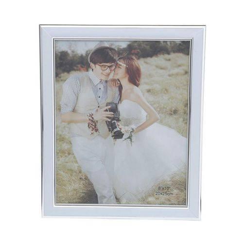 Porta Retrato Branco 10x15 Bordas Cromadas Prestige Collection