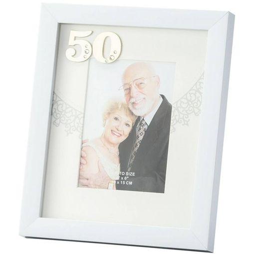 Porta Retrato Branco 10X15 Bodas de Ouro 3062 Lyor