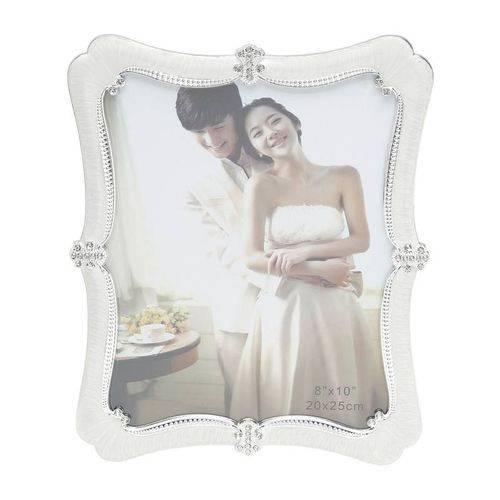 Porta Retrato Branco com Strass para 1 Foto 10x15cm Lima Prestige