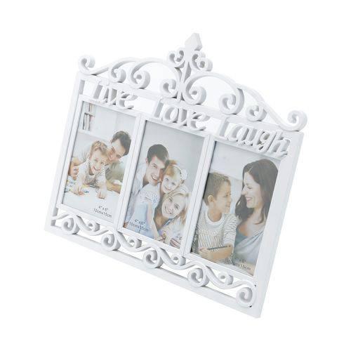 Porta Retrato Branco P/ 3 Fotos