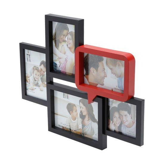 Porta-Retrato de Plástico para 5 Fotos 3X 10X15 1X 18X13 e 1X 10X10 Preto e Vermelho